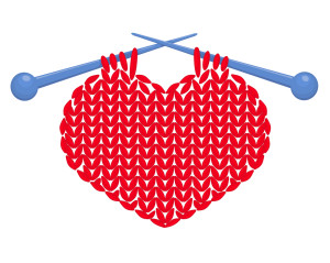 Knitted red heart on needles. Vector illustration. Isolated on white.